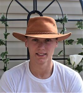 Vintage-Light-Brown-Leather-Australian-Outback-Hat-Braided-Leather-Hatband-L-XL