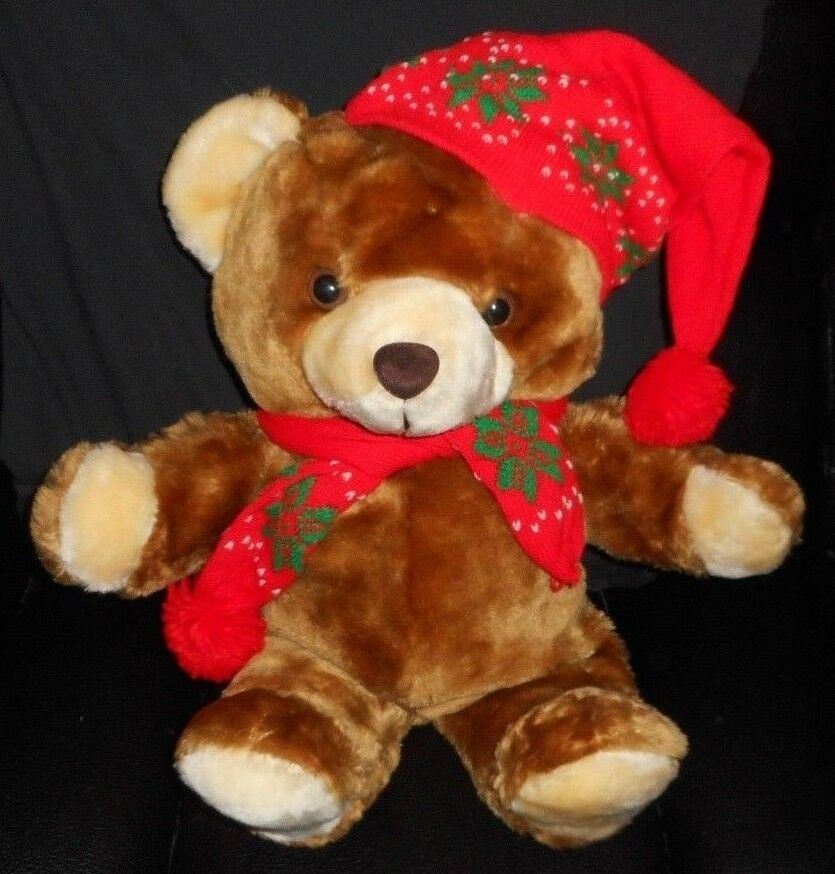 VINTAGE 1986 COMMONWEALTH CHRISTMAS TEDDY BEAR STUFFED ANIMAL PLUSH TOY rosso GIFT
