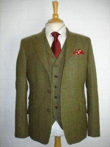 Men's Olive Green Tweed Check Plaid Vintage Suit Tuxedos Dinner Slim Fit Suit