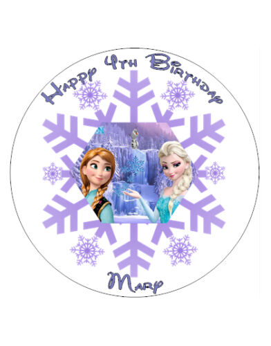 "Frozen Anna And Elsa Personalised Cake Topper 8/"" Circle Edible Wafer//icing sheet"