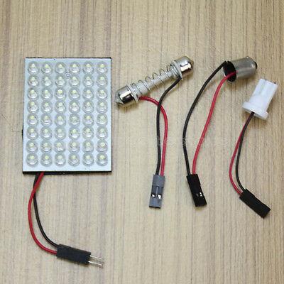 Auto Pannello 48 LED Bianco DC12V + 2 Adattatori T10 Plafoniera Dome Ricambi