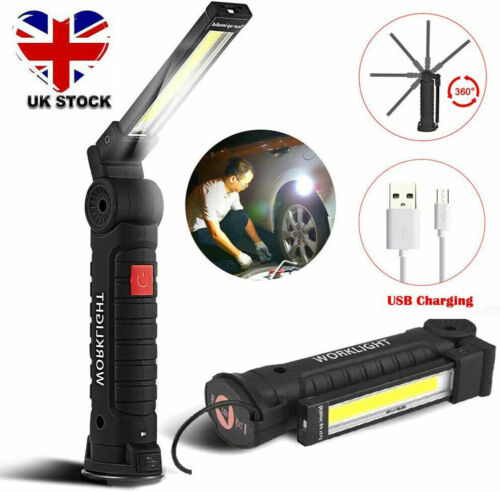 LED COB Rechargeable Work Light Magnetic Torch Flexible Inspection Cordless OZUK