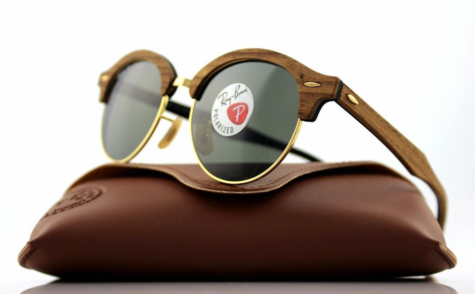 19459953b8 Ray-Ban Clubround Wood Men s Polarized Sunglasses with Brown Gold ...