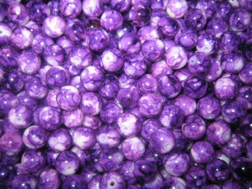 Cuentas de vidrio pintadas en Mix abalorios 8 mm multicolor gemasert 70 trozo de violeta