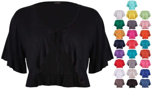 Womens Short Sleeve Ladies Frill Tie Cropped Cardigan Bolero Shrug Top Plus Size by Ebay Seller