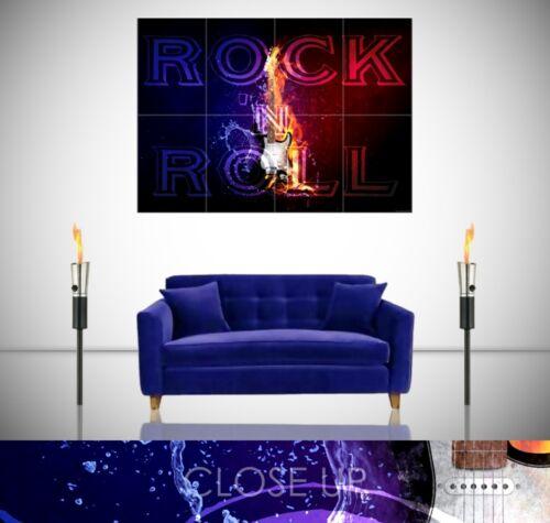 Rock N Roll fuego llameante Guitarra Eléctrica Splash música gigante impresión de arte cartel
