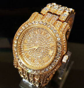 Iced-Out-Crystal-Band-Dress-Clubbing-Wrist-Watch-ITALY-MADE-14K-GOLD-Plated