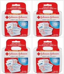 4 Pack Johnson & Johnson First Aid to Go First Aid Kits, 12 Item Kit, Band-Aid