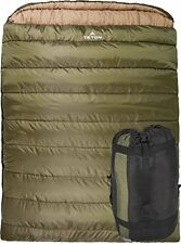 TETON Sports Mammoth Queen Sizelannel Lined Sleeping Bag 94x 62 Green 0 Degree F