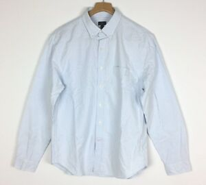 e966a03cadd Details about J CREW Men s Size L  Vintage Oxford Shirt with Sun-Faded  Stripe  White and Blue