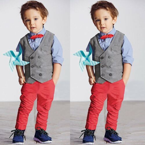 3pcs Kids Baby Boys Gentleman Waistcoat+Shirt+Pants Trousers Clothes Outfits Set