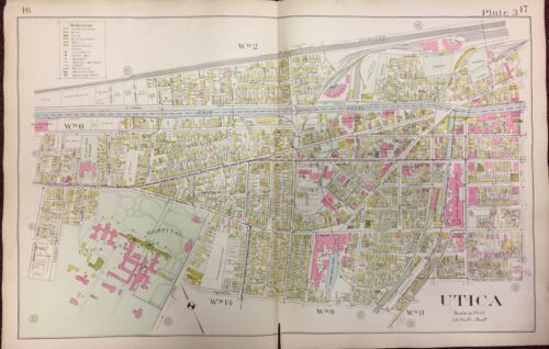 LUKE/'S HOME /& HOSPITAL ONEIDA COUNTY NY ATLAS MAP 1907 UTICA STATE HOSPITAL ST