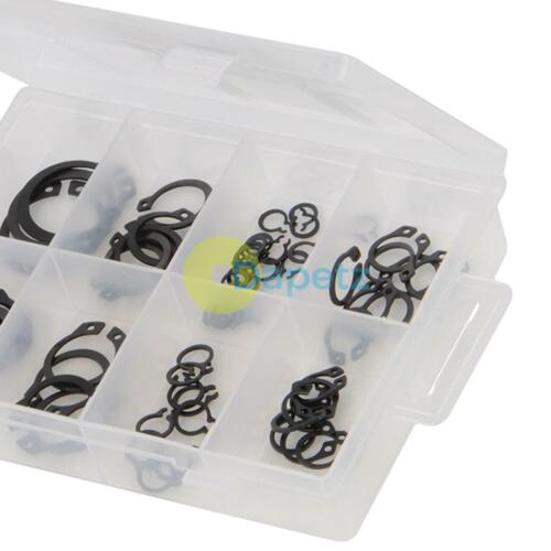 64Pce External Circlips Pack Chemically Blackened Steel Suitable For Over Shafts