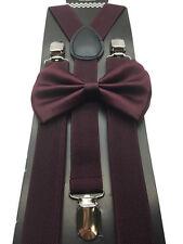 New Dark Burgundy Unisex Bow Tie & Suspender Tuxedo Wedding Apparel Accessories