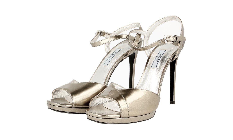 Auténtico de de de lujo Prada Zapatos de salón 1XP780 Platino Nuevo nos 8.5 EU 38,5 39  selección larga