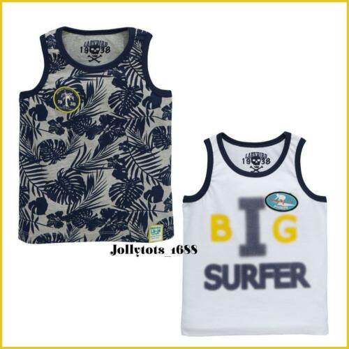BNWT Boys Vest Tops 2 Pack Tropical Summer Cotton Vests 2-3 Years