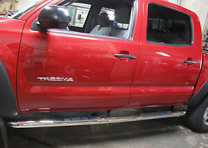 """3/""""Matte Black Running Board Step Nerf Bars for 2005-2017 Toyota Tacoma Crew Cab"""