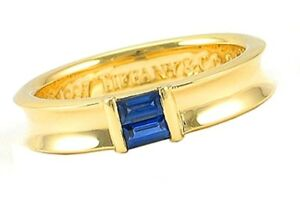 TIFFANY-amp-Co-18K-Yellow-Gold-Blue-Sapphire-Stacking-Ring-5-5