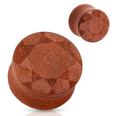 PAIR Faceted Gold Sandstone Plugs Organic Gauges Earlets Sand Stone 4g thru 5/8""