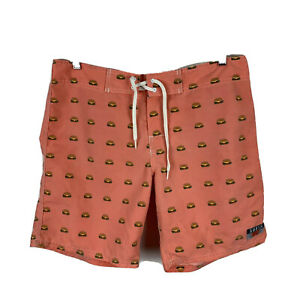AMBSN-California-Mens-Board-Shorts-Size-32-Swim-Shorts-Orange-Burgers-Print