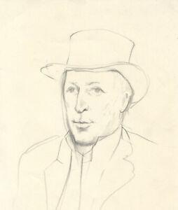 Barbara-Dorf-Mid-20th-Century-Graphite-Drawing-Portrait-of-a-Gentleman