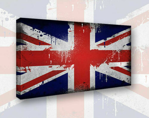 Vintage Old Distressed Union Jack Shabby Chic Framed Canvas Style 1