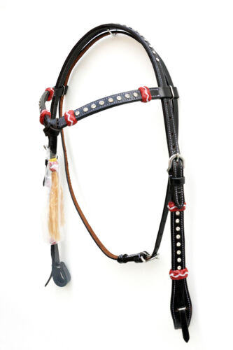 Western Black Set of Head Stall //Breast collar//Reins//Spur And Curb Strap