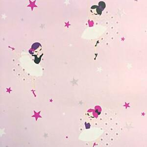 Glitter Sparkle Ballerina Wallpaper Girls Pink White Stars Floral Nursery Ugepa Ebay