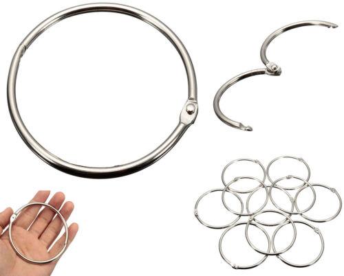 Metal Silver Split Rings Loop Hoop Hinged Book Binder Album Key Chain Key Ring