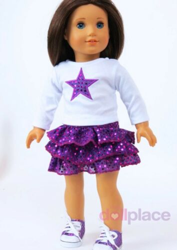 Skirt Set Purple Star Top Outfit + Shoes fits 18 inch American Girl Doll Clothes