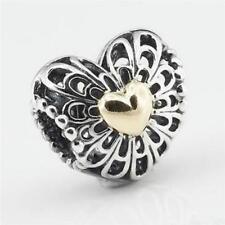 genuine sold silver Vintage Filigree heart gold Heart openwork charm bead