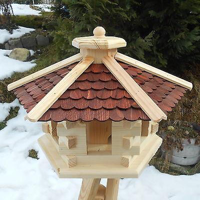 Großes Vogelhaus Vogelfutterhaus Vogelhäuschen Holz Bitumen o. Schindeldach XXL