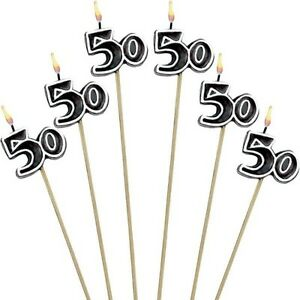Image Is Loading 50th Birthday Candles Cake Toppers Fiftieth Fifty Party