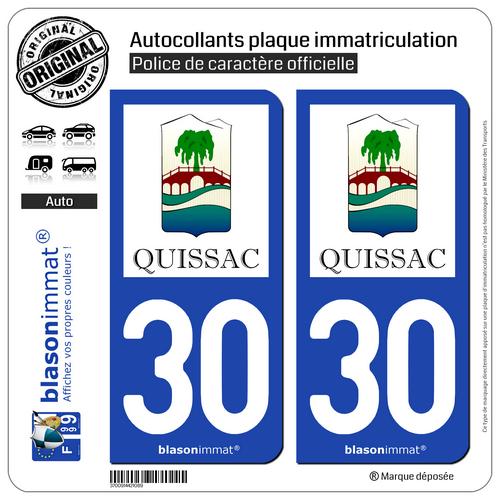 2 Blason Plaque D'immatriculation Auto | 30 Quissac - Commune | 30260 Gediversifieerd In Verpakkingen