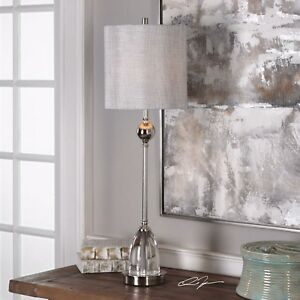 GALLO-MODERN-33-034-POLISHED-NICKEL-PLATED-STEEL-TABLE-BUFFET-LAMP-CRYSTAL-BASE