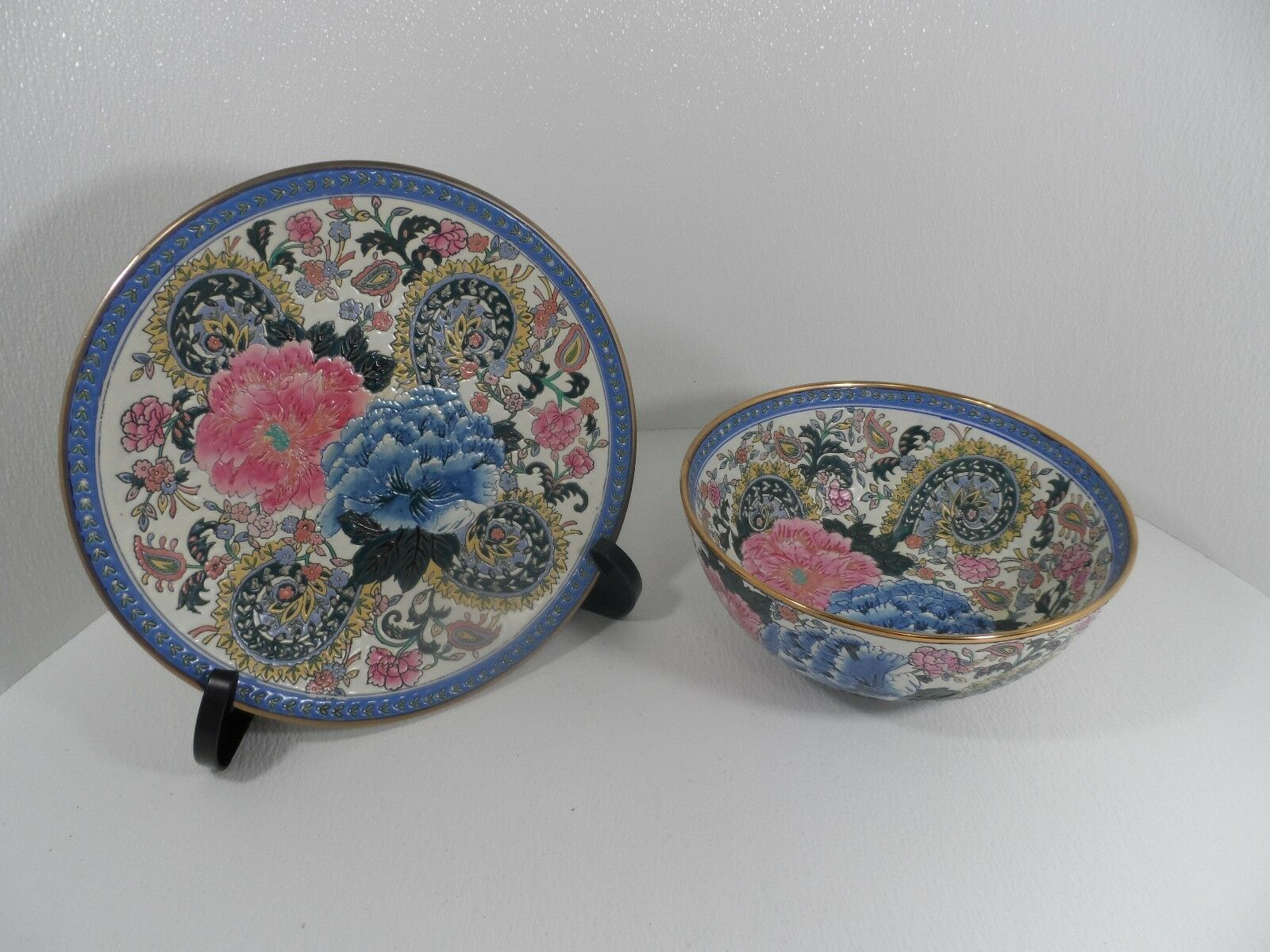Andrea by Sadek Victoria Morland  Faience Decorative Plate 12  & Bowl 10  - GC
