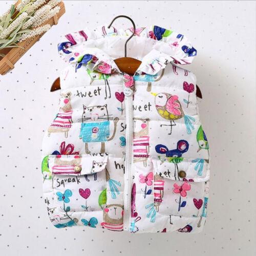 Toddler Infant Girls Animal Hooded Jackets Zipper Warm Waistcoat Clothes Coat