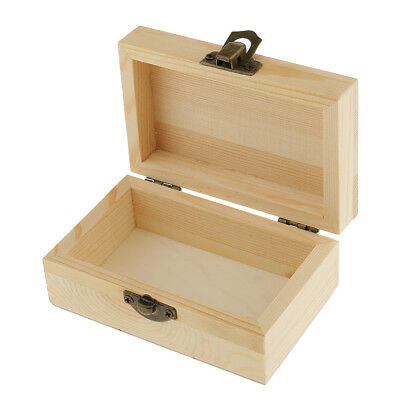 Blank Rectangle Unfinished Wooden Jewelry Stroage Box Case for Kid DIY Craft