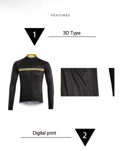 Men/'s Cycling Jersey Long Sleeves with Stand Collar Full Zipper MTB Bike Shirt