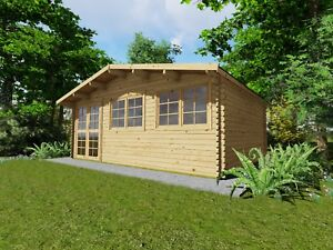 Gartenhaus Holz, Fußboden 28mm + ISO, Blockhaus 6x3M+0.5M 40mm