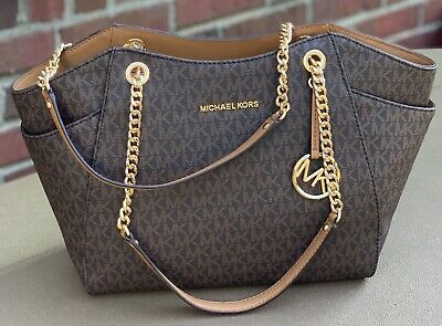 New Michael Kors Jet Set Travel Chain Brown MK Signature Lightweight Tote Bag | eBay