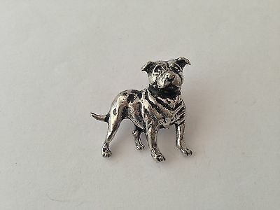 D17 Staffordshire Bull Terrier English Pewter Dog Pin Badge