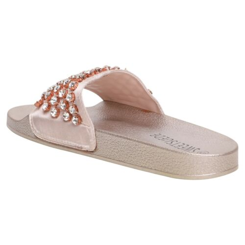 LADIES FASHION SUMMER HOLIDAY CASUAL FLAT DIAMANTE DETAILS SLIDERS SIZE 3-8