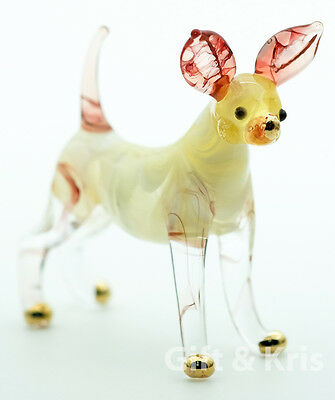 Figurine Hand Blown Glass Chihuahua Dog No Painted w/ Painted Gold Trim - 012