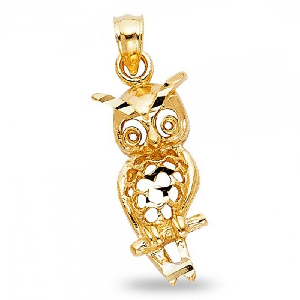 Owl Pendant Solid 14k Yellow gold Charm Diamond Cut Polished Fancy Design