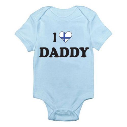 Finlandia divertida temática Baby crecer Padre Mameluco Me encanta finlandesa Daddy-Papá
