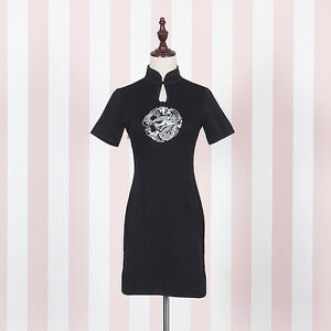 Vintage-Dragon-Embroidery-Black-Cheongsam-Chinese-Qipao-Dress-Lolita-Bodycon
