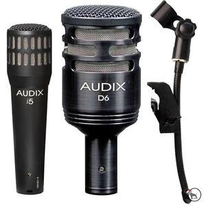 audix d6 i5 kick snare guitar bass drum microphones and dvice mic clip bundle ebay. Black Bedroom Furniture Sets. Home Design Ideas