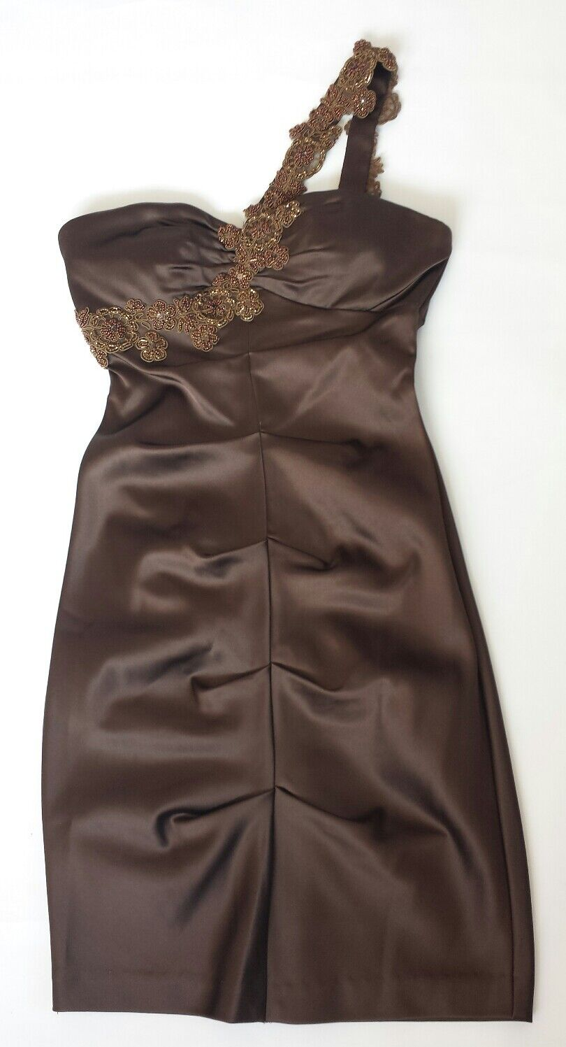 XSCAPE BY JOANNA CHEN Embellished Embroidered dress brown  size 4 P  BNWOT