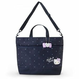 66e34660f696 Image is loading Hello-Kitty-2WAY-Tote-Shoulder-Bag-Dot-Navy-
